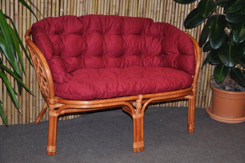 Ratanová lavice Cayman koňak polstr vínový MAXI