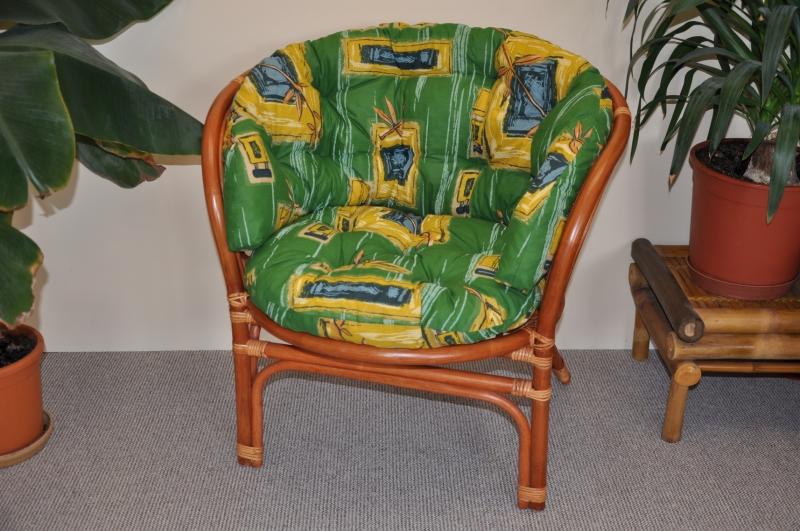 Ratanové křeslo Cayman barva koňak polstr zelený MAXI