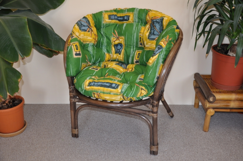 Ratanové křeslo Cayman hnědé polstr zelený MAXI