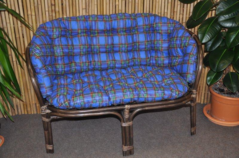 Ratanová lavice Cayman hnědá modrý polstr MAXI