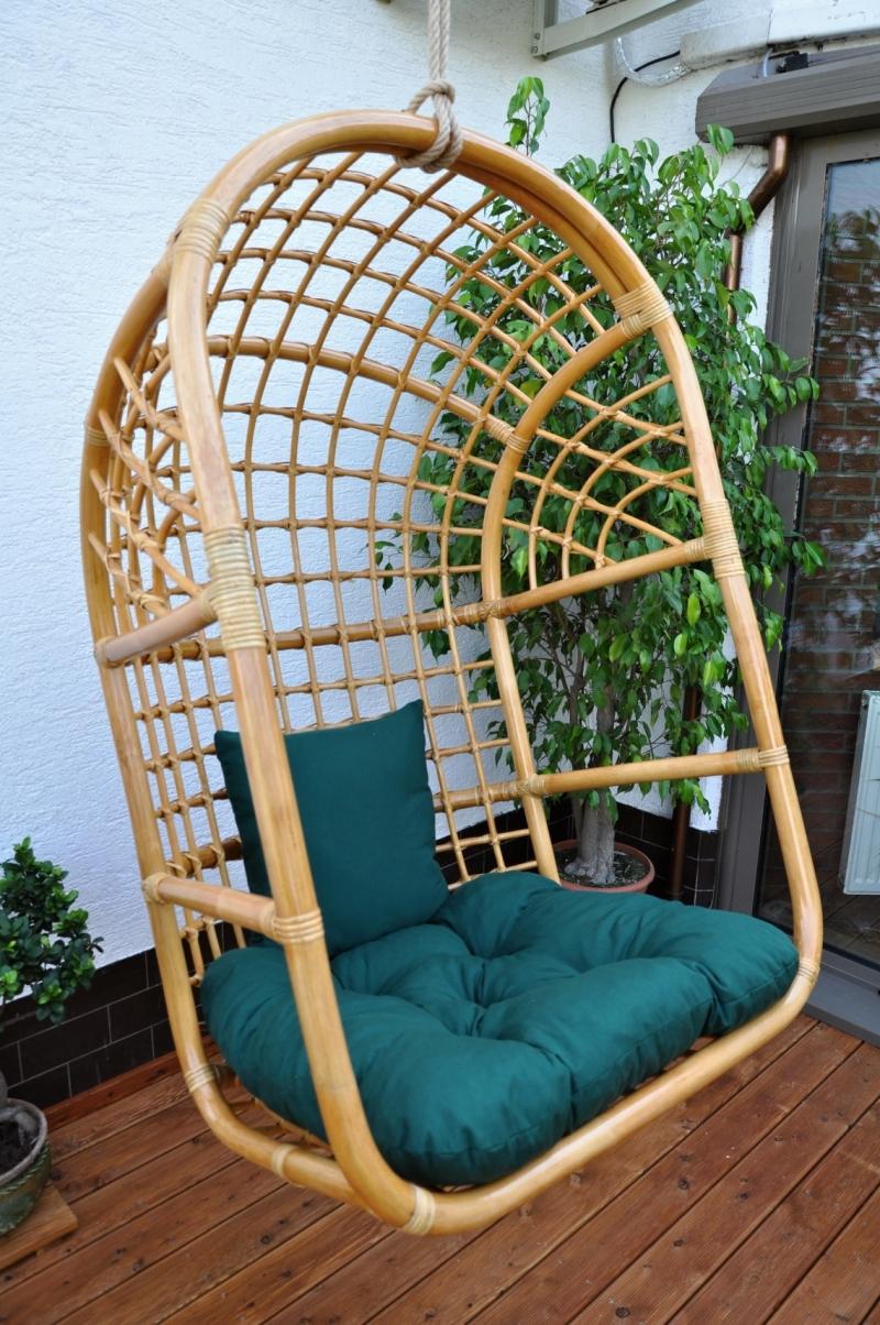 Houpačka ratanová závěsná medová XL polstr zelený dralon