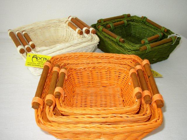 Ratanový košík čtvercový set 3 varianta zelená