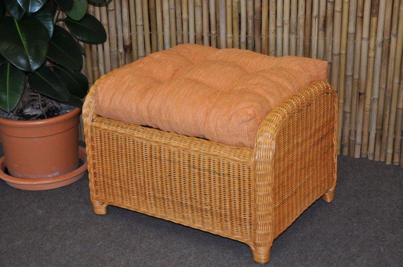 Ratanová taburetka Telinga medová, polstr oranžový