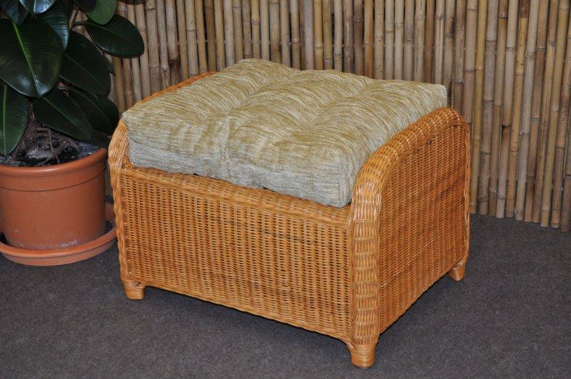 Ratanová taburetka Telinga medová, polstr béžový