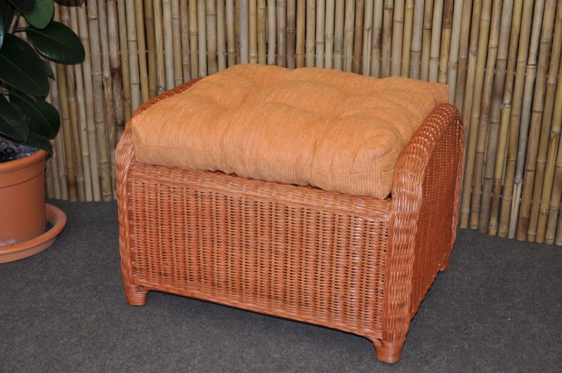 Ratanová taburetka Telinga koňak, polstr oranžový