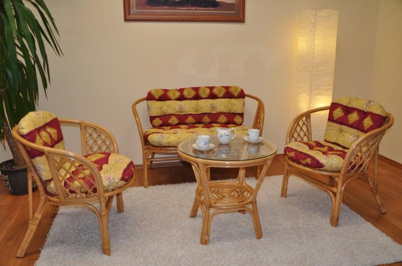 Ratanová sedací souprava Cayman medová velká polstry vínový motiv