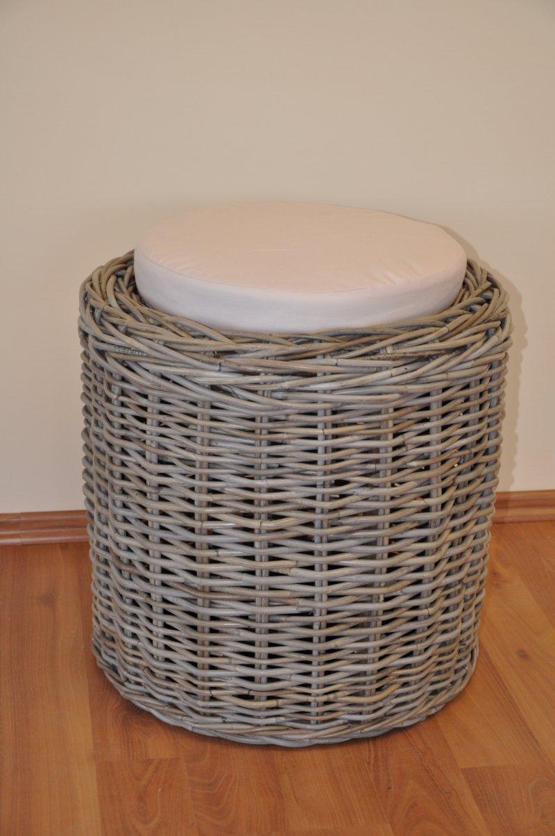 Ratanová taburetka Orang ratan kubu polstr béžový