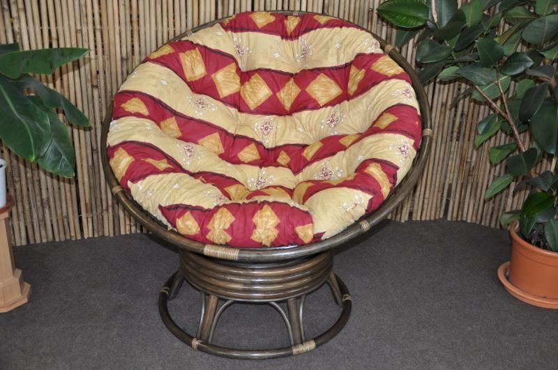 Ratanový papasan houpací hnědý polstr vínový motiv