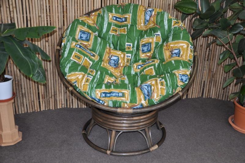 Ratanový papasan houpací hnědý polstr zelený
