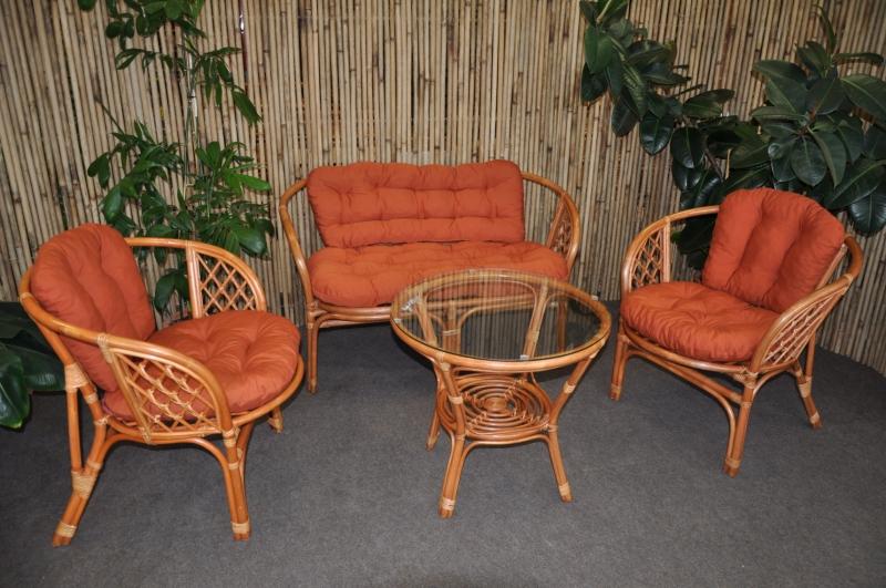 Ratanová sedací souprava Cayman velká cognac polstry pískové