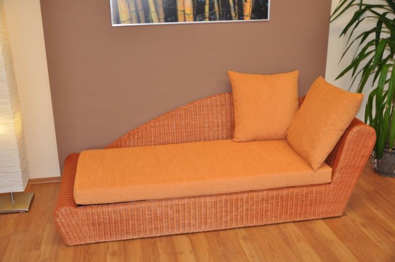 Ratanová odpočinková pohovka koňak levá polstr oranžový