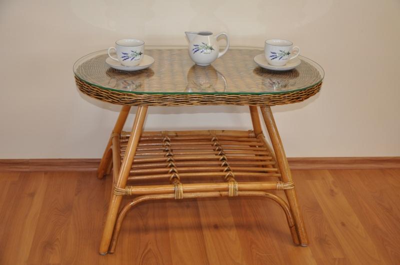 Ratanový stolek Utan oválný brown wash