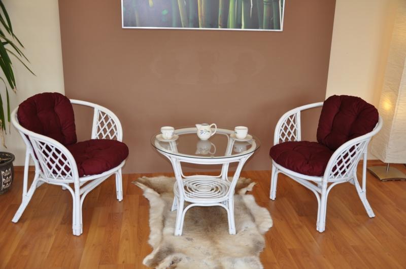 Ratanová sedací souprava Cayman bílá 2+1, polstry vínové