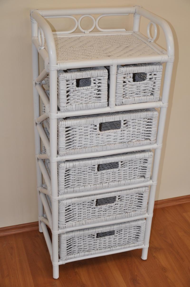 Ratanová komoda 4+2 zásuvky bílá