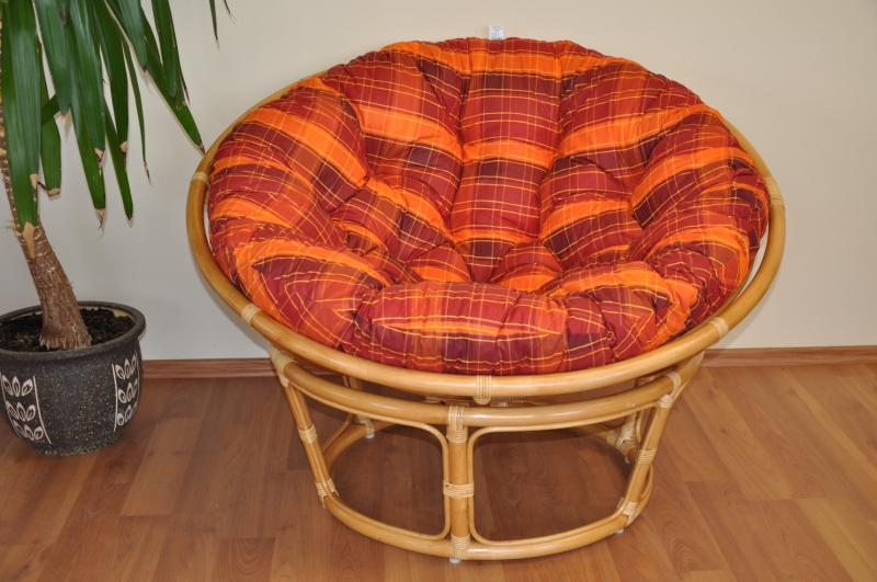 Ratanový papasan 110 cm medový polstr oranžová kostka