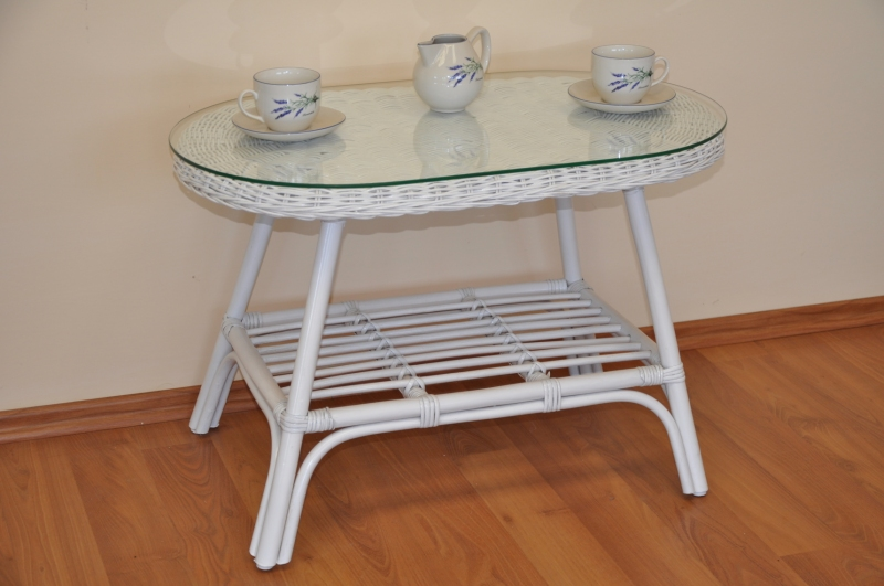 Ratanový stolek Utan oválný bílý