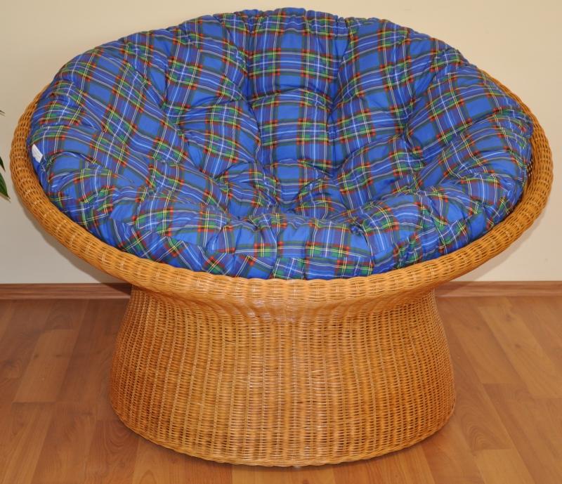 Ratanový papasan wicker polstr modrý