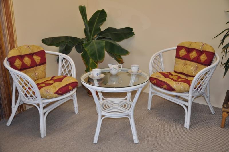 Ratanová sedací souprava Cayman bílá 2+1, polstry vínový motiv