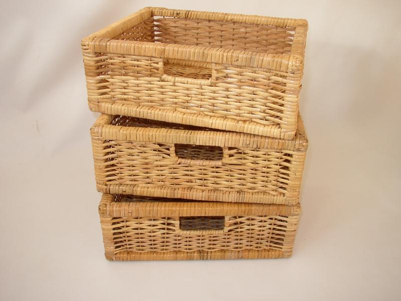 Zásuvka ratanová medová  set 3 kusy