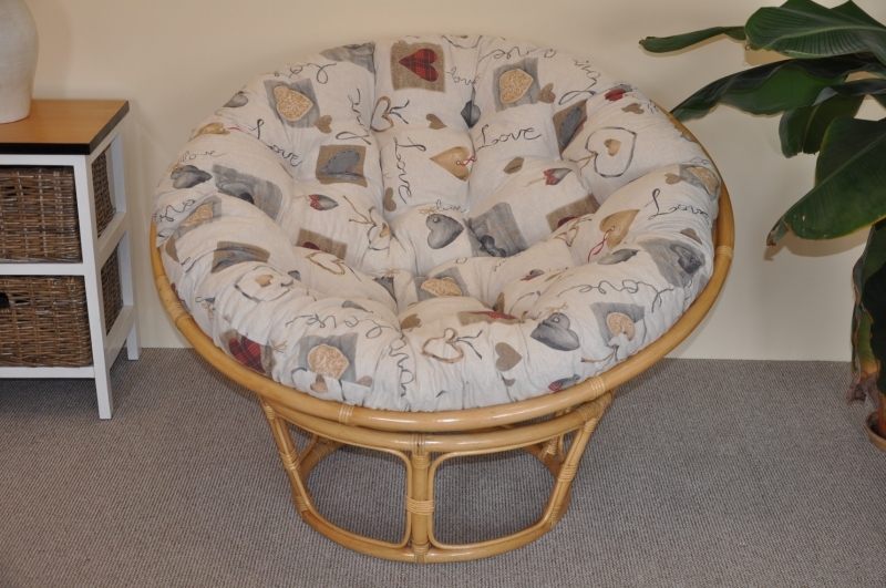 Ratanový papasan 110 cm medový polstr motiv srdce LOVE