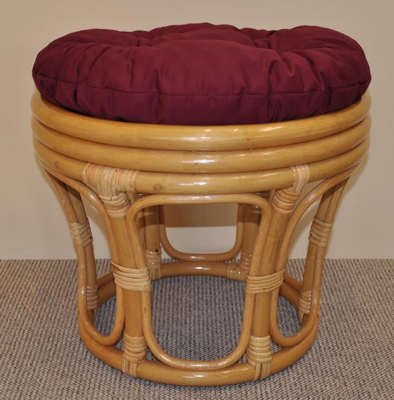 Polstr na ratanovou taburetku vínový - průměr 40 cm