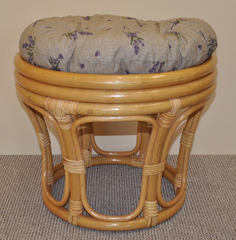 Polstr na ratanovou taburetku levandule - průměr 40 cm