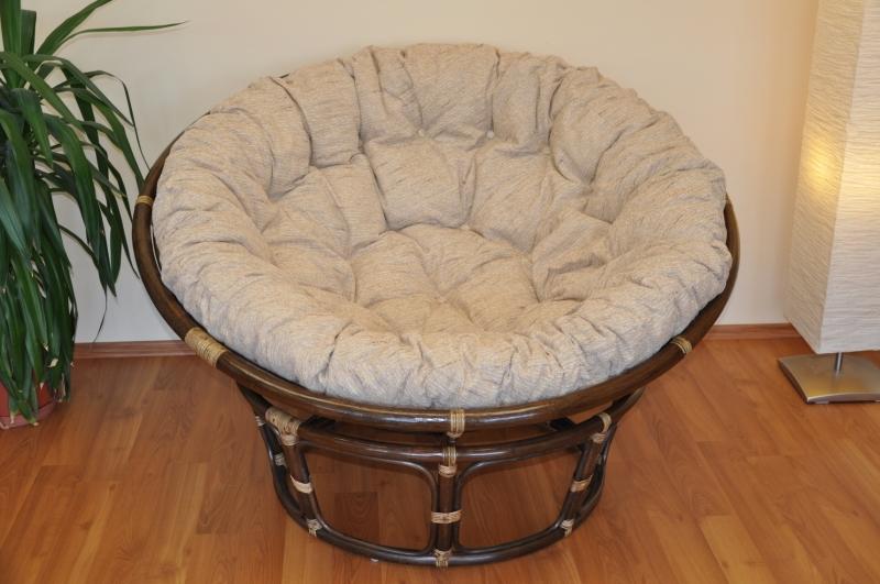 Ratanový papasan 130 cm hnědý - polstr Ebony