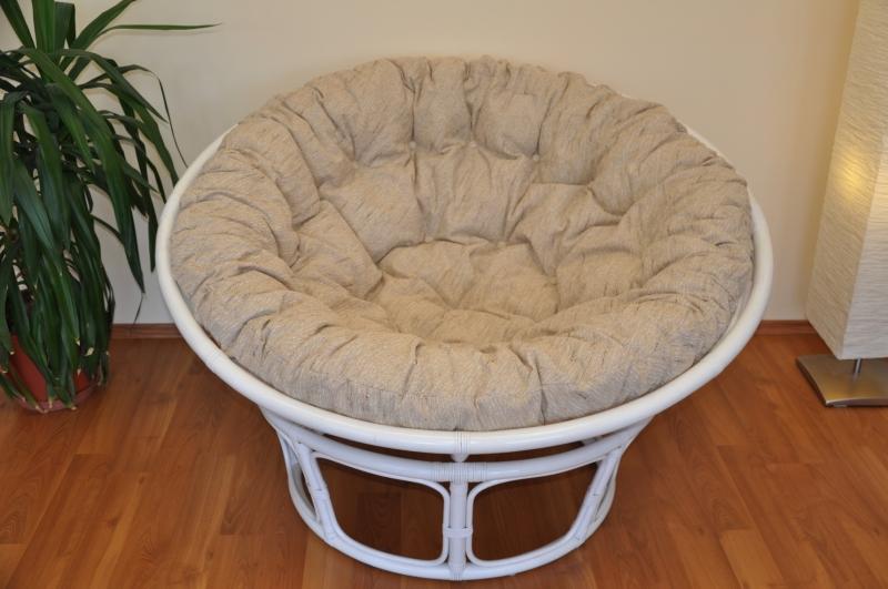 Ratanový papasan 130 cm bílý - polstr Ebony