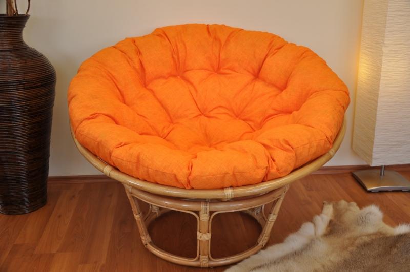 Ratanový papasan 110 cm medový polstr oranžový melír