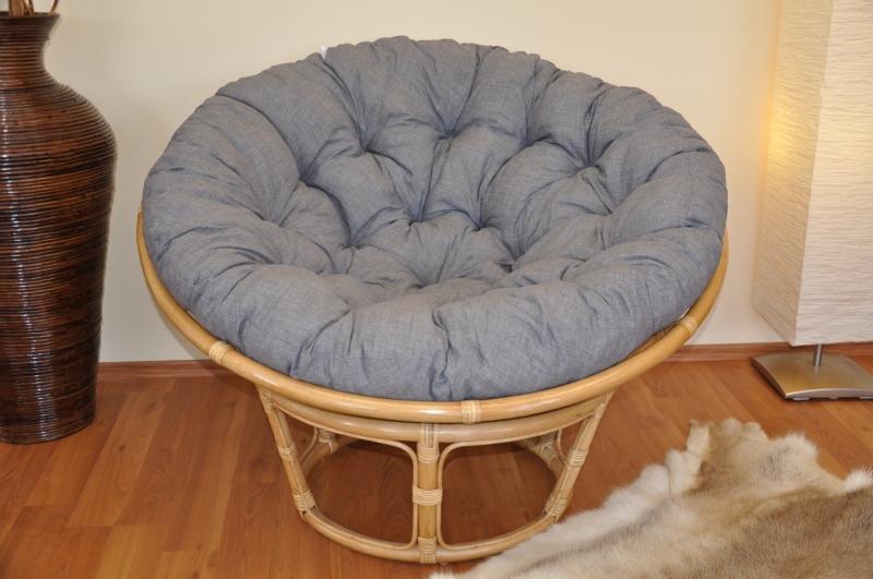 Ratanový papasan 110 cm medový polstr šedý melír
