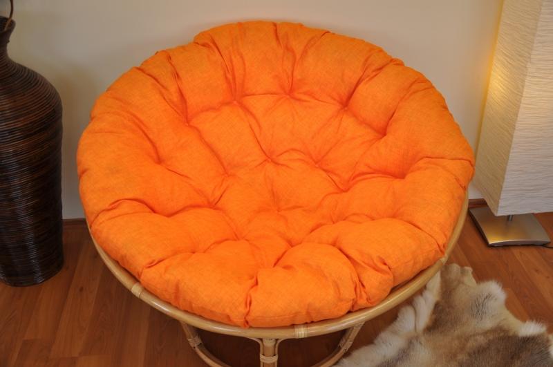 Polstr deluxe na křeslo papasan 110 cm - oranžový melír
