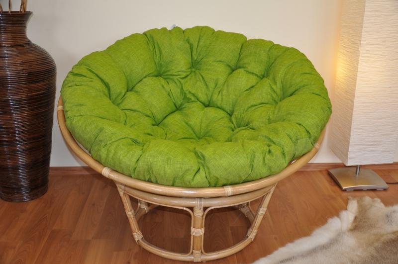 Ratanový papasan 110 cm medový polstr zelený světlý melír