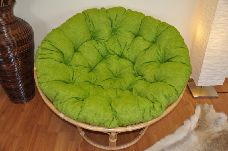 Polstr deluxe na křeslo papasan 110 cm - světle zelený melír