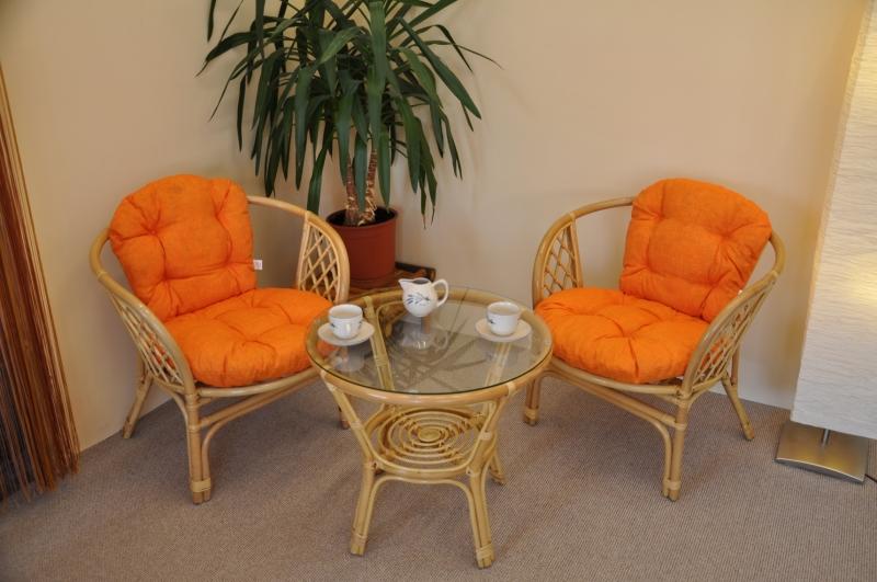 Ratanová sedací souprava Cayman malá medová polstry oranžový melír