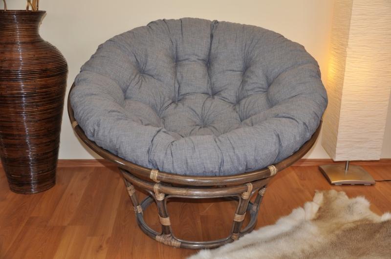 Ratanový papasan 115 cm hnědý - polstr šedý melír