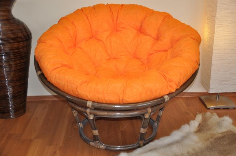 Ratanový papasan 115 cm hnědý - polstr oranžový melír