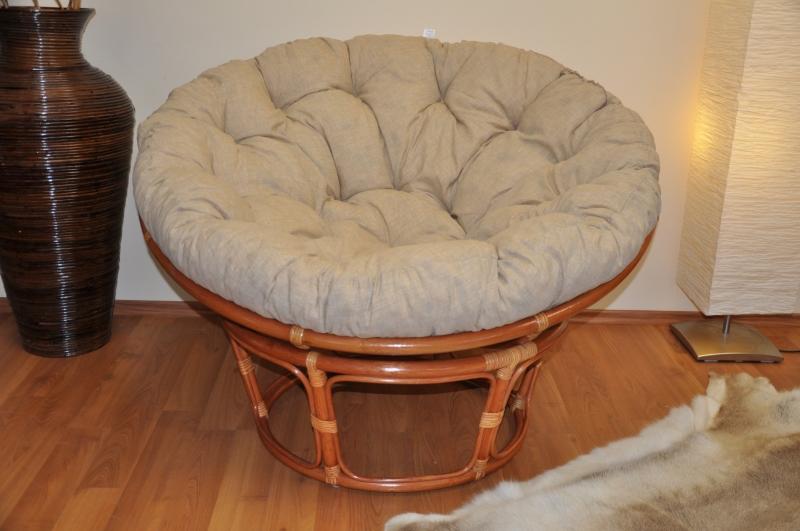 Ratanový papasan 115 cm hnědý - polstr béžový melír