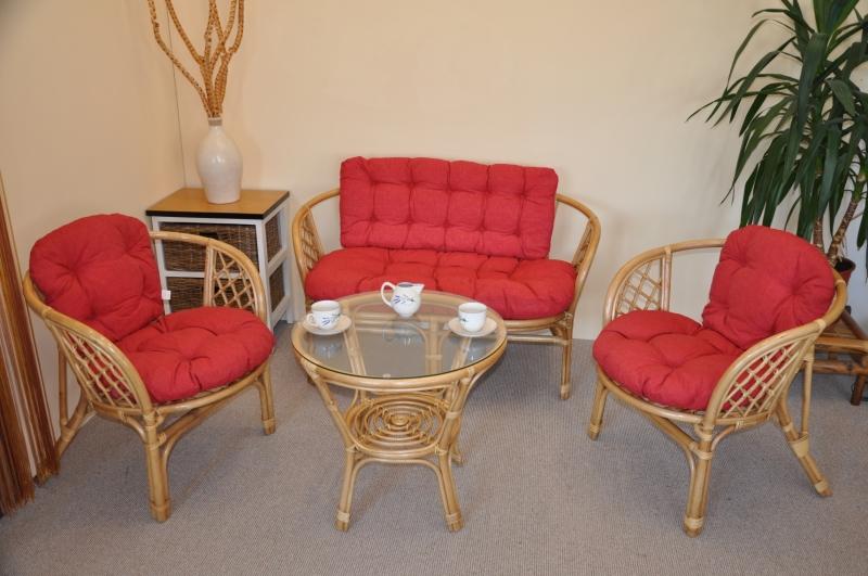 Ratanová sedací souprava Cayman medová velká polstry vínový melír