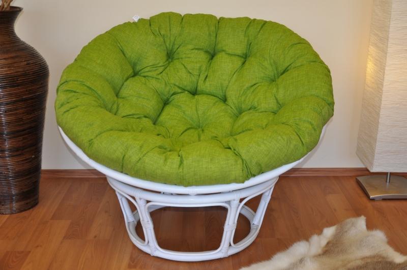 Ratanový papasan 110 cm bílý polstr světle zelený melír
