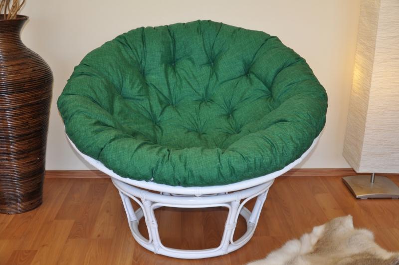 Ratanový papasan 110 cm bílý polstr tmavě zelený melír