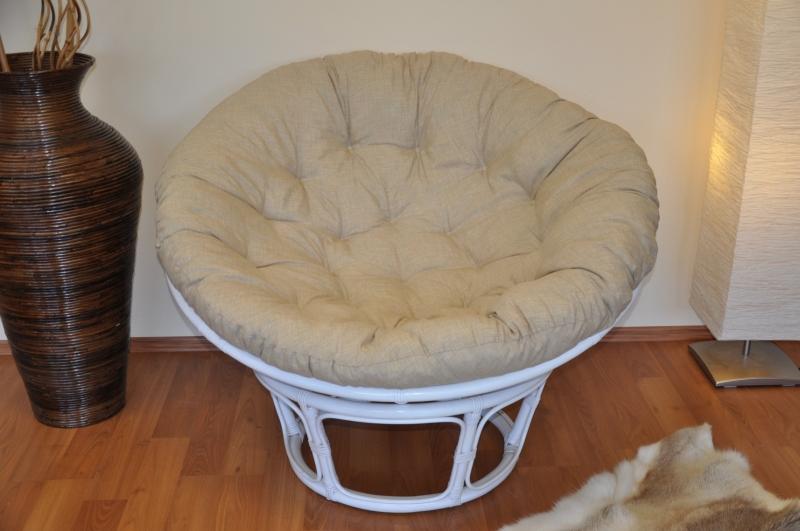 Ratanový papasan 110 cm bílý polstr béžový melír