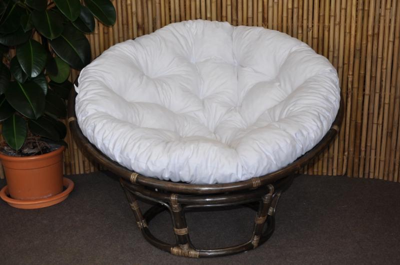 Ratanový papasan 115 cm hnědý - polstr bílý