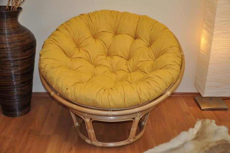 Ratanový papasan 110 cm medový polstr žlutý melír