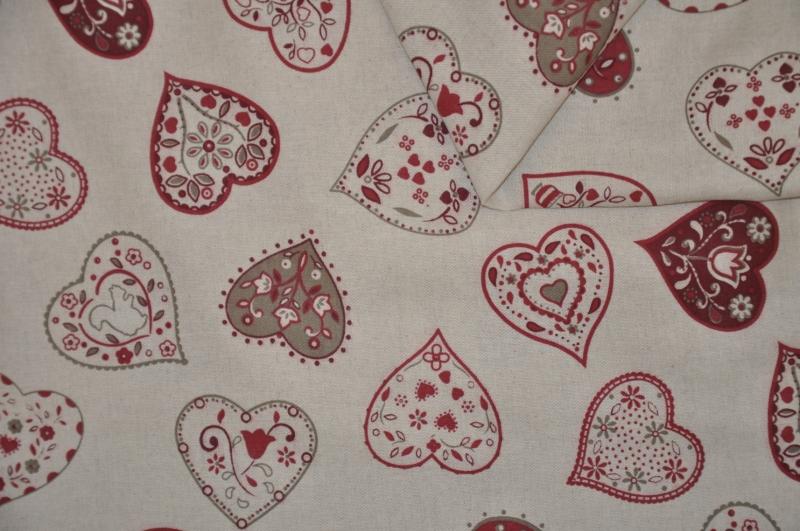 Látka Mihra motiv červená srdce