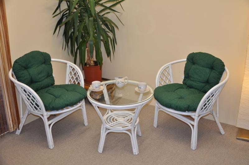 Ratanová sedací souprava Cayman bílá 2+1, polstry tmavě zelený melír