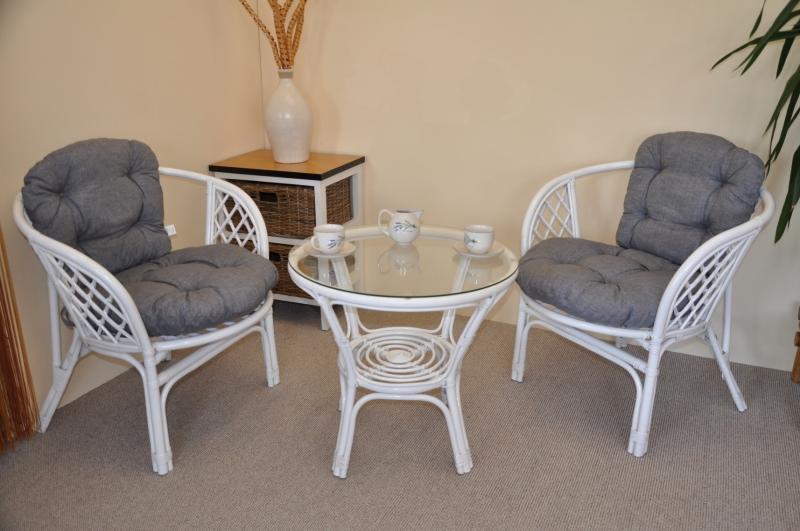 Ratanová sedací souprava Cayman bílá 2+1, polstry šedý melír