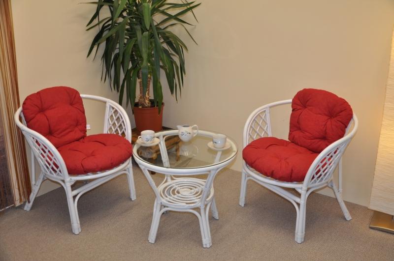 Ratanová sedací souprava Cayman bílá 2+1, polstry vínový melír
