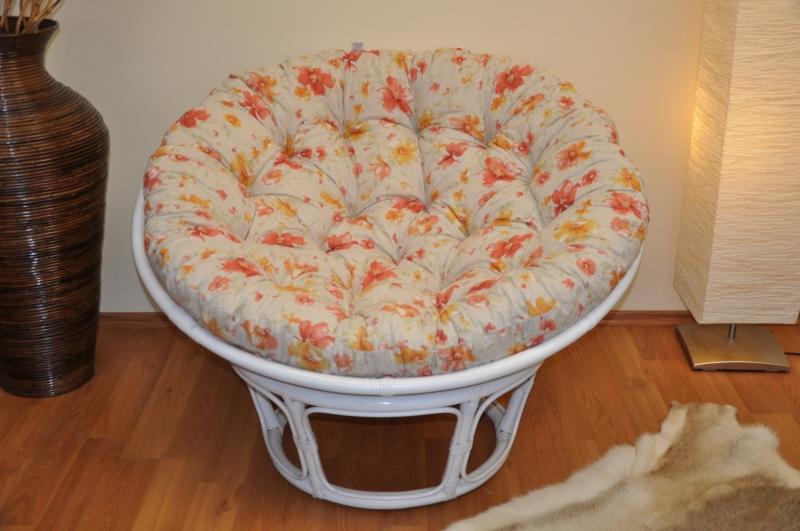 Ratanový papasan 110 cm bílý polstr motiv květiny