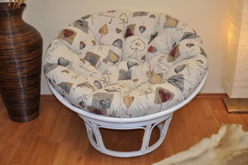 Ratanový papasan 110 cm bílý polstr motiv srdce LOVE