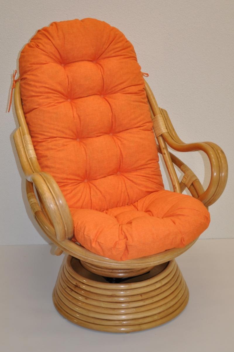 Ratanové houpací křeslo Rock and roll medové polstr oranžový melír
